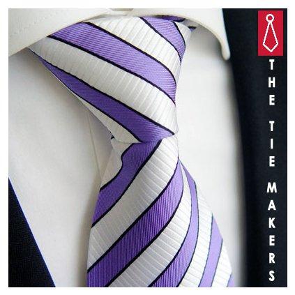 Pruhovná kravata Beytnur 166-4 fialová bílá