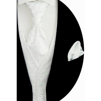 Bílá svatební vesta Beytnur 17-2 kravata, plastron a kapesníček