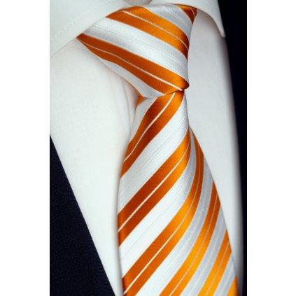 128 bílo oranžová hedvábná kravata