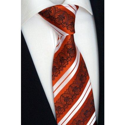 hedvábná kravata oranžová pruh vzor. 2jpg
