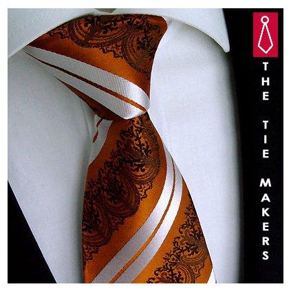 Svatební kravata oranžová vzor paisley Beytnur 199-2