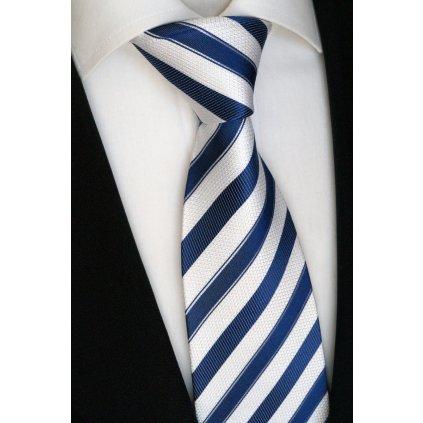 Luxusní modro bílá kravata