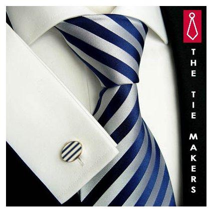 Elegantní modro stříbrná pruhovaná kravata Beytnur 139-1