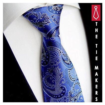 Beytnur 236-1 hedvábná kravata výrazná modrá paisley