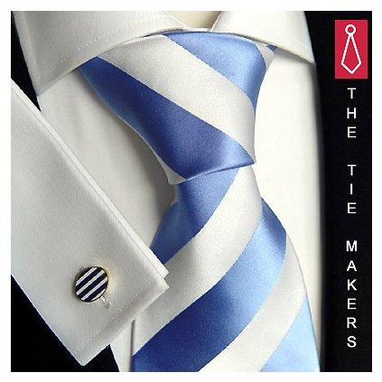 Luxusní hedvábná kravata bíla s modrým pruhem 114-3