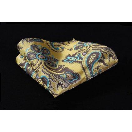 Hedvábný kapesníček žlutý a šedomodrým vzorem