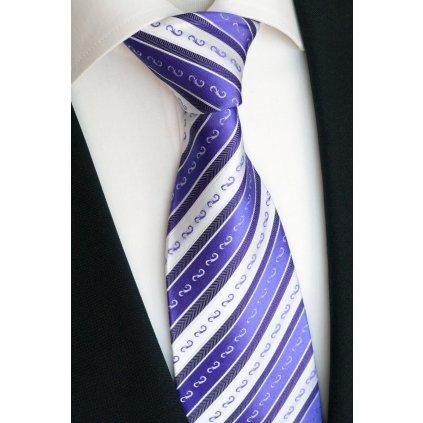 Luxusní hedvábná kravata bíla s fialovým pruhem 198-1