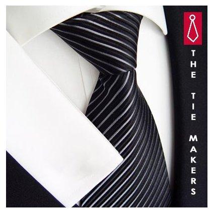 Pruhovaná kravata černá Beytnur 140-1