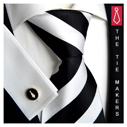 Luxusní hedvábná kravata černobílá s pruhem 114-1