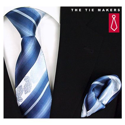 Modrý set kravata a kapesníček Beytnur 206-2