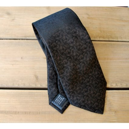 Luxusní kravata Bugatti - černá s hnědým
