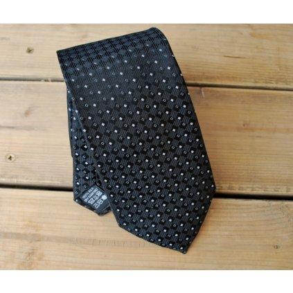 Bugatti značková kravata - černá kosočtverce
