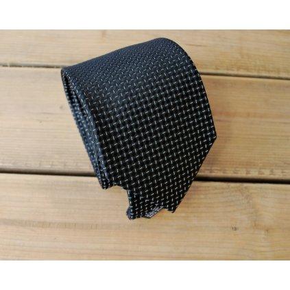 Bugatti značková kravata - černá čárky