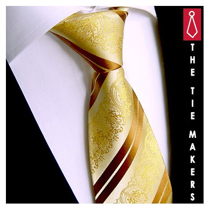 Beytnur 199-9 hedvábná kravata zlatá paisley