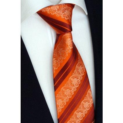 oranžová hedvábná kravata