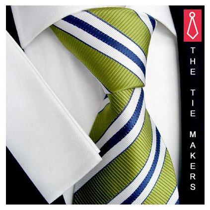 Zelenomodrobílá kravata Beytnur 49-6