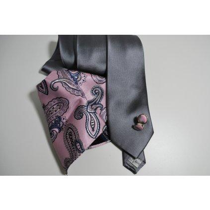 Šedý set kravaty, kapesníčku a knoflíčků
