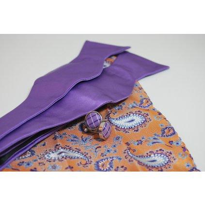 Fialový set motýlek, kapesníček a knoflíčky