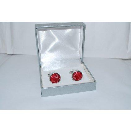 Manžetové knoflíčky jednobarevné červené