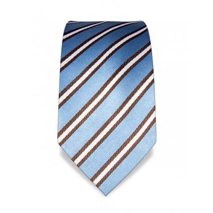 Modrá kravata s hnědobílým pruhem VB1554
