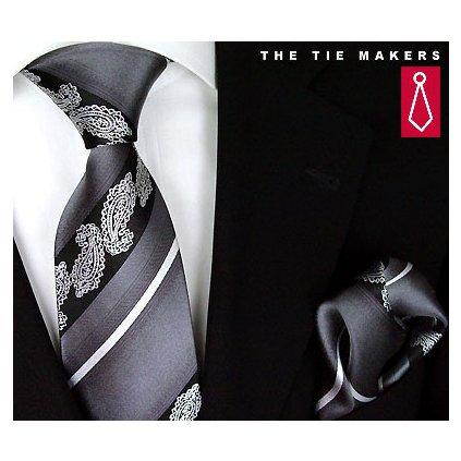Elegantní šedo černá kravata Beytnur 206-6