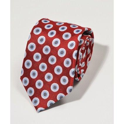 Luxusní kravata Gagliardi - červená kruhy