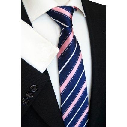 hedvábná kravata modrá růžová