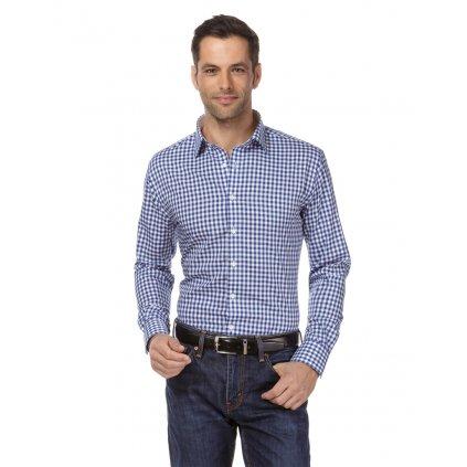 Pánská košile kostkovaná modro bílá