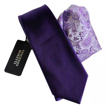 Luxusní plesový set kravaty a kapesníčku - fialový