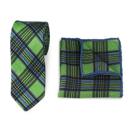 Luxusní set vlněné kravaty a kapesníčku - zelené karo