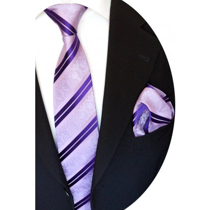 fialová hedvábná kravata a kapesníček