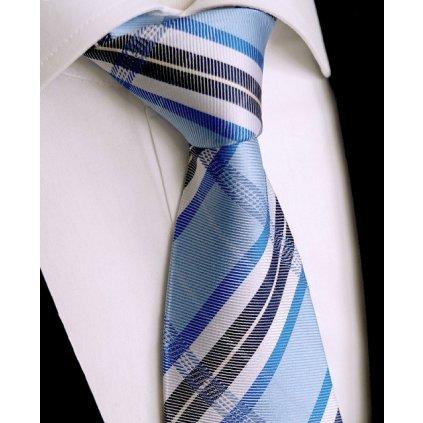 Světle modrá pruhovaná kravata Beytnur 242-1