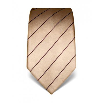 Béžová kravata s pruhem Vincenzo Boretti 21924