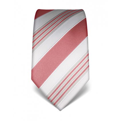 Luxusní pruhovaná kravata Vincenzo Boretti 21963 - starorůžová
