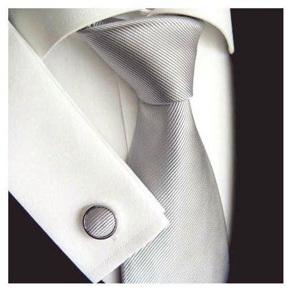 Stříbrná hedvábná kravata Tom Harrison 900-22