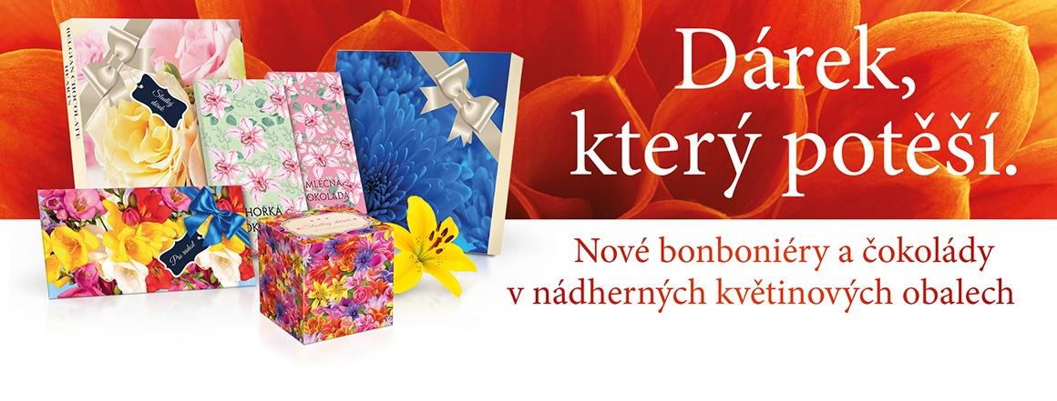 Nové bonboniéry a čokolády v nádherných květinových obalech