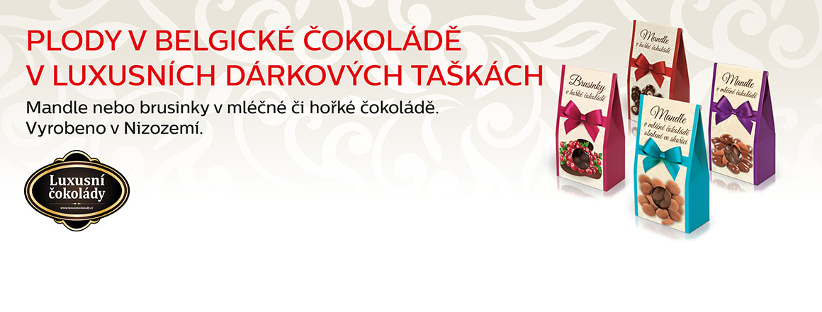 Plody v belgické čokoládě v luxusních dárkových taškách