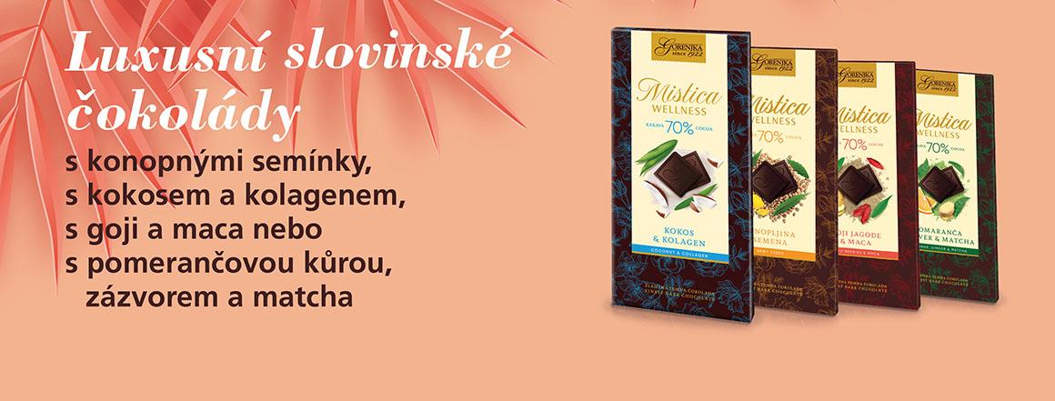 Luxusní slovinské čokolády s konopnými semínky, s kokosem a kolagenem, s goji a maca nebo s pomerančovou kůrou, zázvorem a matcha