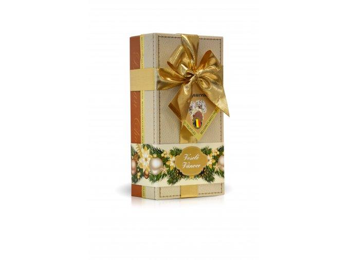 Veselé Vánoce - lanýže mléčné Cappuccino s hoblinkami z bílé čokolády (bílý obal s mašlí) 250g