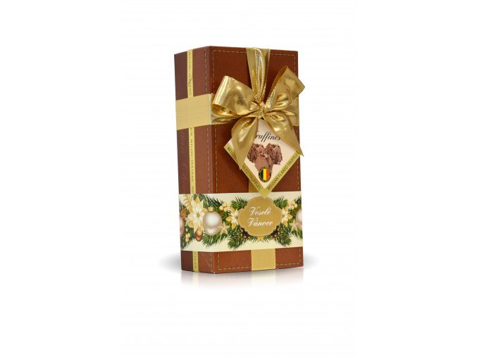 Veselé Vánoce - Lanýže mléčné Classic s hoblinkami z mléčné čokolády  (hnědý obal s mašlí) 250g