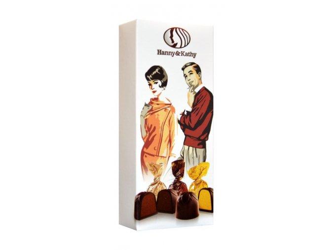 Čokoládové plněné pralinky v dárkové krabičce 90g - Retro couple