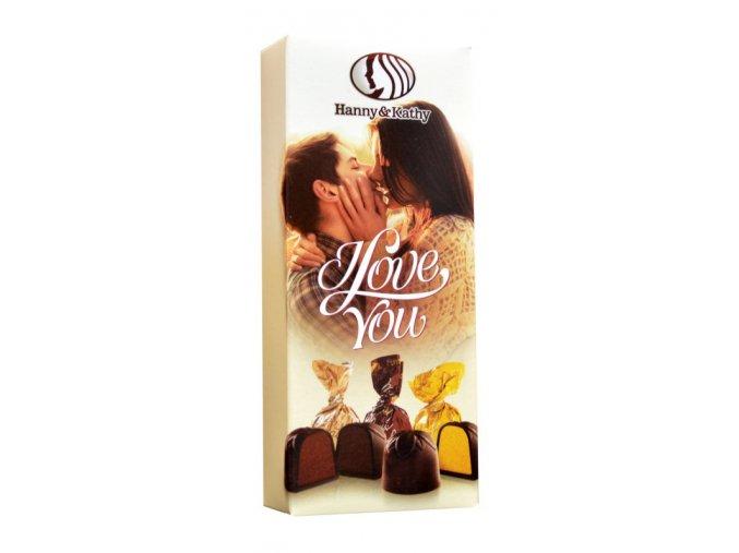 Čokoládové plněné pralinky v dárkové krabičce 90g - I love you