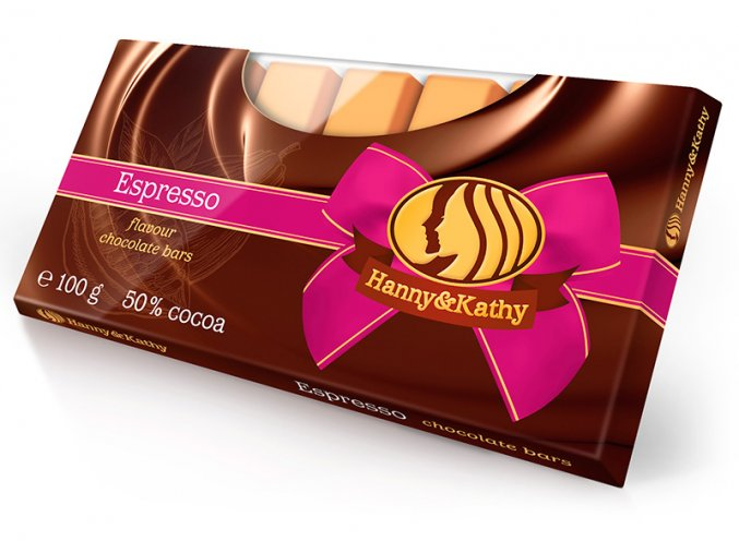 Hanny&Kathy čokoládové tyčinky espresso 100g