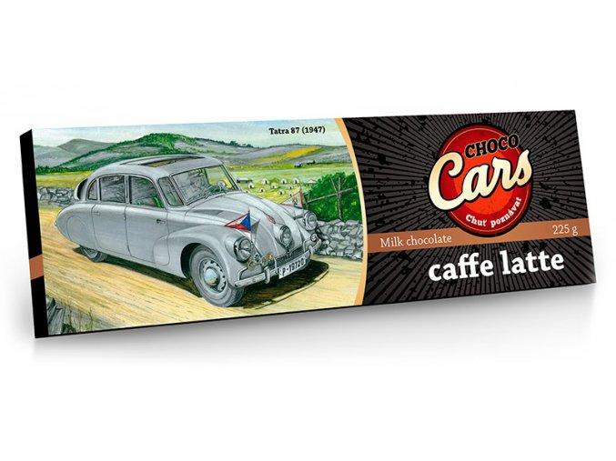 CHOCO CARS mléčná čokoláda s příchutí caffe latte, sušenkami a kávou 225g