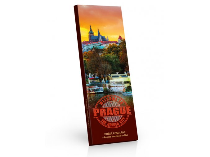 Praha hořká čokoláda s kousky brusinek a višní 225g