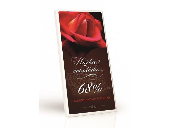 KVĚT ČERVENÁ růže - Čokoláda 68% s kakaovými kousky 100g