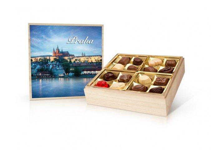 Praha barevná - belgické pralinky v dřevěné dóze 400 g