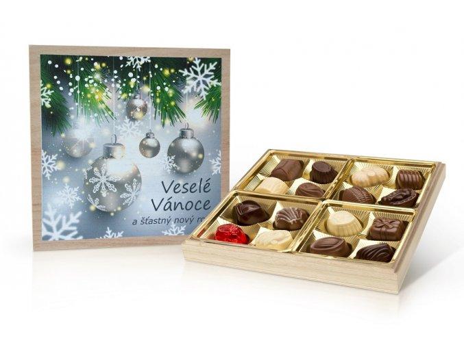 Vánoce - belgické pralinky v dřevěné dóze 200 g (modrá - stromeček)