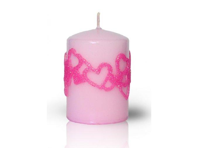 Svíčka - Věnec srdíček - růžový  10/7cm