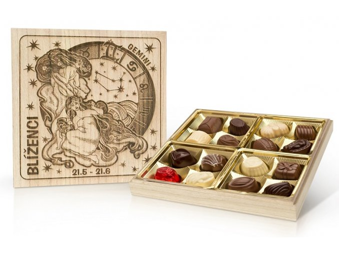 Belgické čokoládové  pralinky v dřevěné dóze 200g